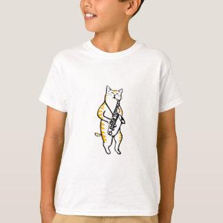 Camiseta saxcat - gato que toca el saxofón