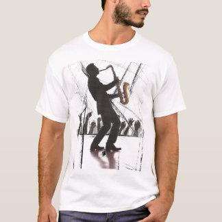 Camiseta saxofón que juega azules