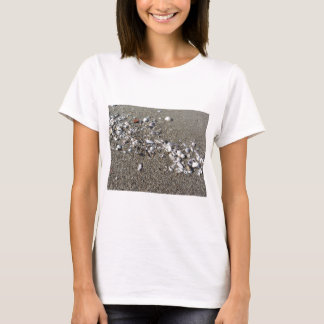 Camiseta Seashells en la arena. Fondo de la playa del