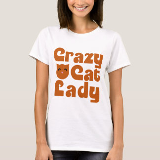 Camiseta Señora anaranjada loca del gato de Tabby