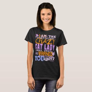 Camiseta Señora loca certificada divertida del gato
