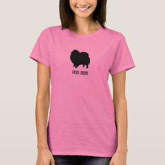 Camiseta Silueta de Pomeranian - mamá de Pom - texto de