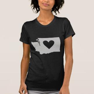 Camiseta Silueta del estado de Washington del corazón