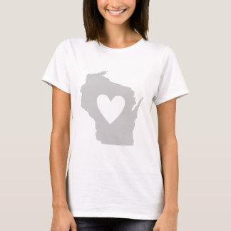 Camiseta Silueta del estado de Wisconsin del corazón