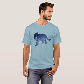 Camiseta Silueta estrellada del gato de la galaxia del