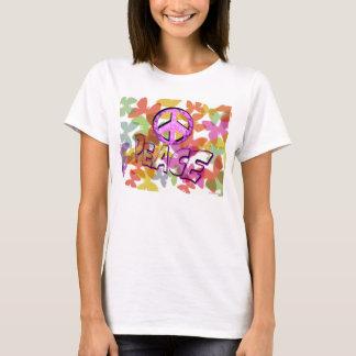 Camiseta Símbolo y mariposas de la palabra de la paz