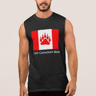 Camiseta Sin Mangas Bandera canadiense del oso canadiense del 100% con