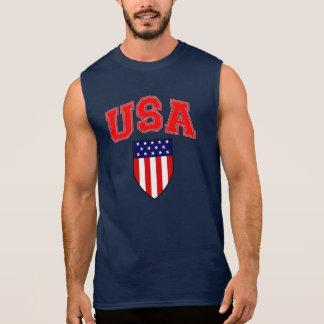 Camiseta Sin Mangas Escudo patriótico de la bandera americana de los