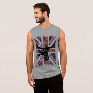 Camiseta Sin Mangas Guarde la calma y oscile en bandera BRITÁNICA
