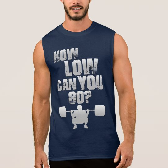 Camiseta Sin Mangas ¿How Low Can You Go? Men' s blue sleeveless shirt
