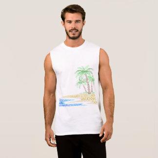 Camiseta Sin Mangas Isla tropical ilustrada con las ciudades de la