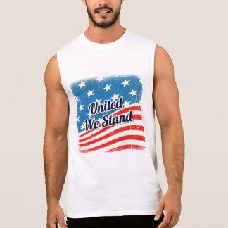 Camiseta Sin Mangas La bandera americana nos unió se coloca