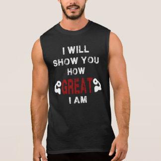 Camiseta Sin Mangas Muestre cómo es grande soy los tanques de la