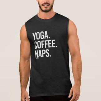 Camiseta Sin Mangas Siestas del café de la yoga -   aptitud de la yoga