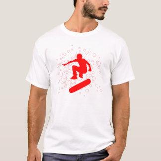 Camiseta skateboarding alto-fi. burbujas y círculos rojos