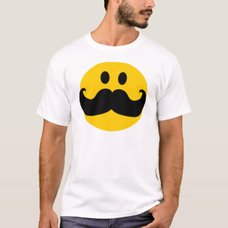 Camiseta Smiley del bigote (color de fondo adaptable)