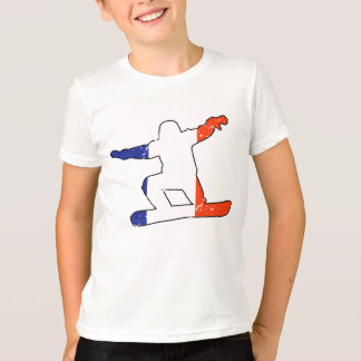 Camiseta SNOWBOARDER tricolor francés (negro)