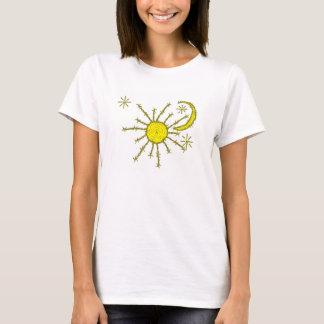 Camiseta sol de la luna del barbwire y copia de las