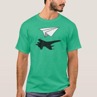 Camiseta Sombra plana de papel del avión de combate