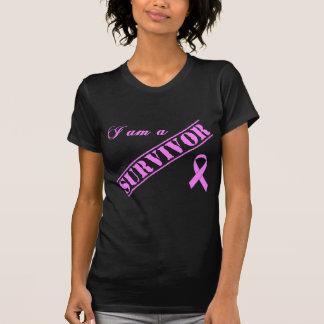 Camiseta Soy un superviviente - cinta del rosa del cáncer