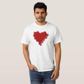 Camiseta Stephanie. Sello rojo de la cera del corazón con