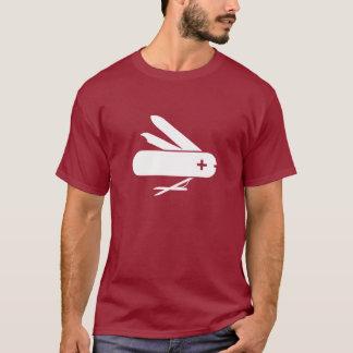 Camiseta suiza del pictograma de la navaja