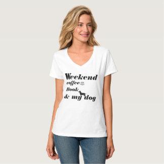 Camiseta T-CAMISA-Fin de semana, café, libro y mi perro