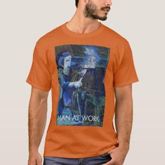 Camiseta T-shirt Deporte-Teca Man AT work Texas anaranjado