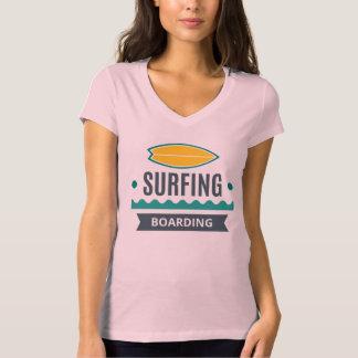 Camiseta T - shirt Mujer Blanco Cuello V Surf