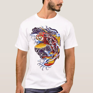 Camiseta Tatuaje de la carpa de Koi del japonés