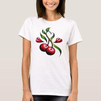 Camiseta Tatuaje de los corazones de las cerezas de la