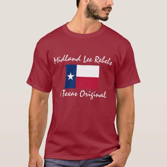 Camiseta Tejas-bandera, rebeldes de Midland Lee, una