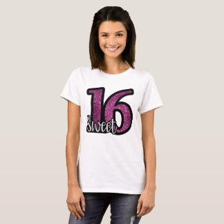 Camiseta Texto púrpura del cumpleaños del purpurina del