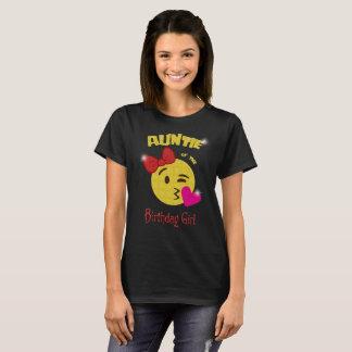 Camiseta Tía de la fiesta de cumpleaños de Emoji del chica