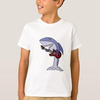 Camiseta Tiburón divertido que toca la guitarra roja