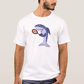 Camiseta Tiburón que juega el dibujo animado del tenis