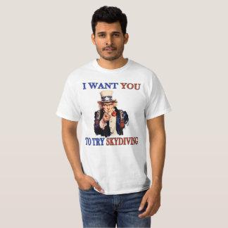 """Camiseta Tío Sam de Skydiving """"quisiera que usted intentara"""