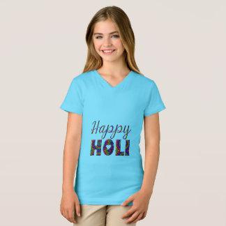 Camiseta Tipografía colorida feliz de Holi