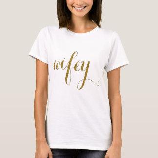 Camiseta Tipografía WIFEY de la hoja de oro del boda