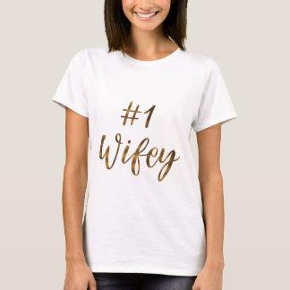 Camiseta Tipografía WIFEY del efecto metalizado de oro de