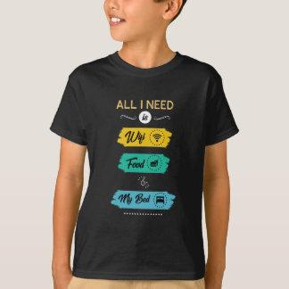 Camiseta Toda lo que necesito es comida de Wifi y mi cama