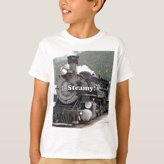 Camiseta Tórrido!: cueza el motor del tren al vapor,