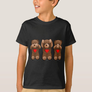 Camiseta Tres peluches sabios, impresión del oso de peluche