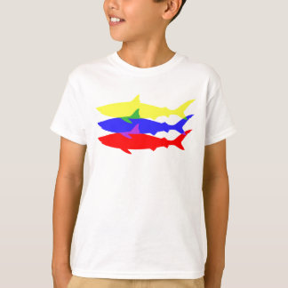 Camiseta Tres tiburones coloreados
