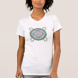 Camiseta tribal de la mandala de la turquesa y del