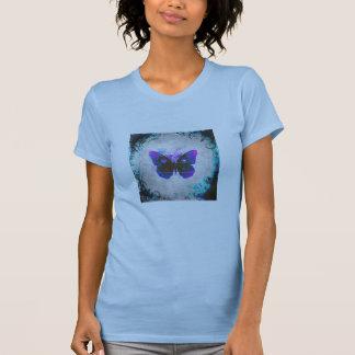 Camiseta tropical de las señoras de la mariposa