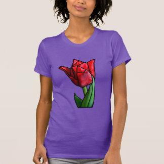 Camiseta Tulipán rojo exótico del vitral