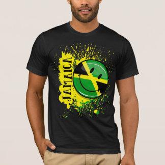 Camiseta Un chapoteo de la bandera sonriente de Jamaica