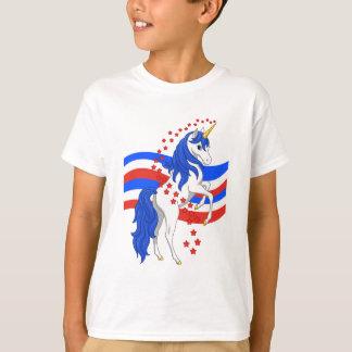 Camiseta Unicornio azul blanco rojo del americano de la
