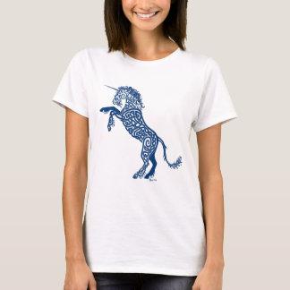 Camiseta Unicornio del azul de Knotwork